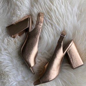 A New Day Rose Gold Block Heel Peep Toe Shoe Sz 10